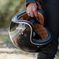 Glossy Black Retro Open Face Helmet